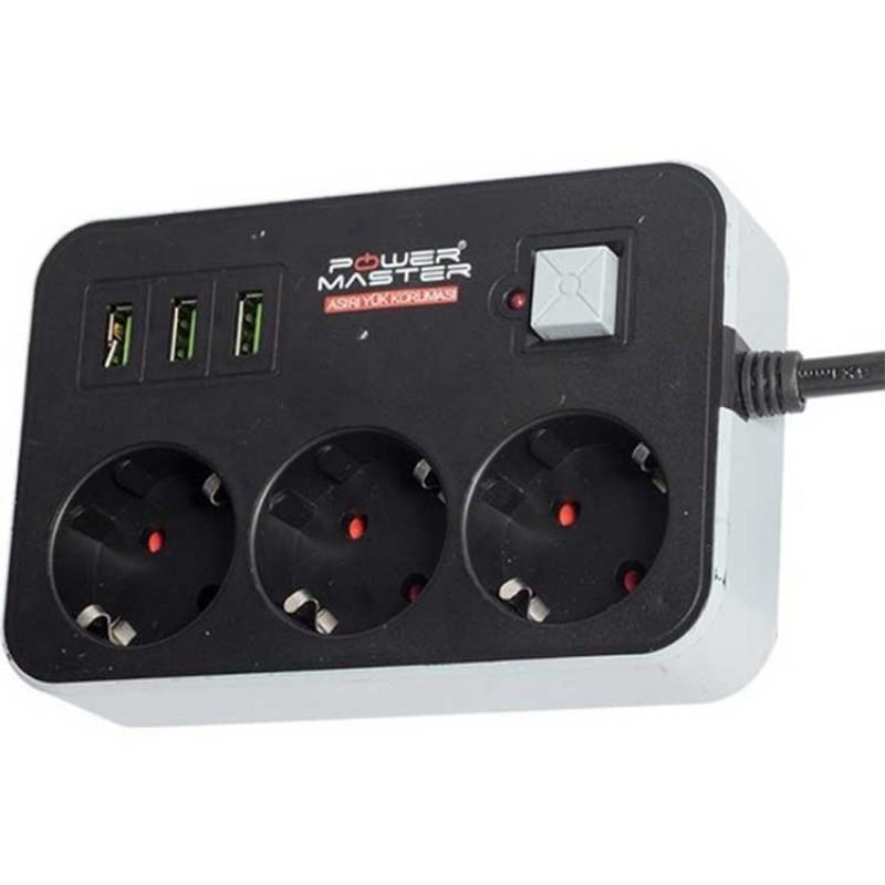 Powermaster 3 Usb Girişli ve 1.8 Metre Akım Korumalı Priz