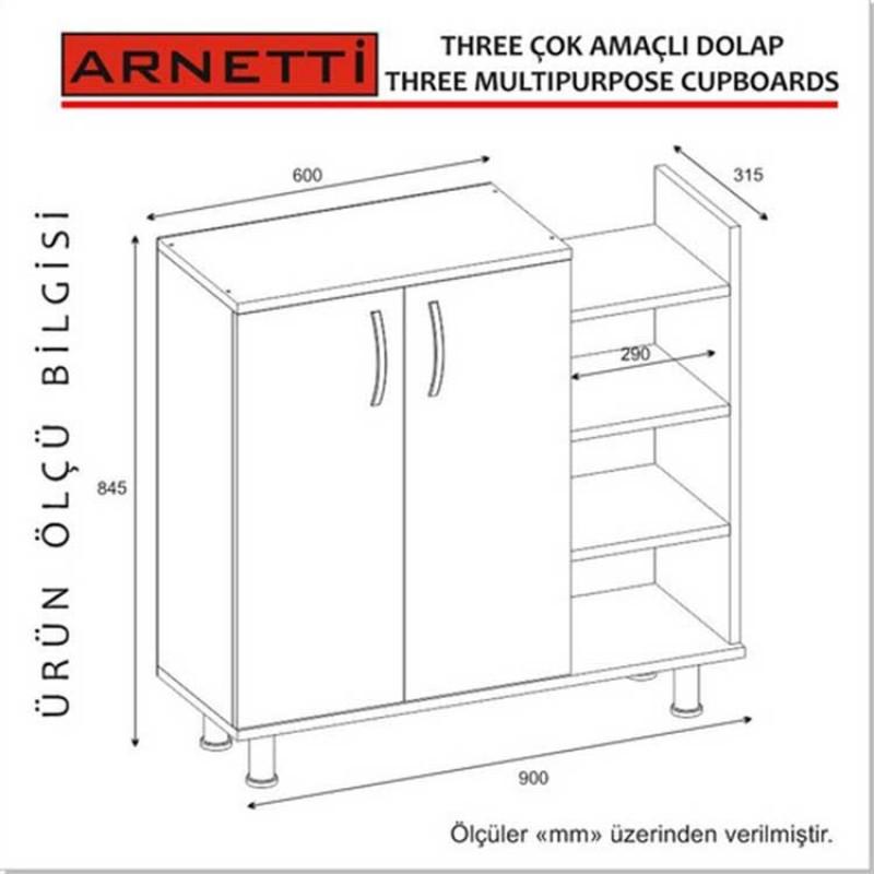 Arnetti Three Beyaz Banyo Dolabı Kapaklı ve Bölmeli