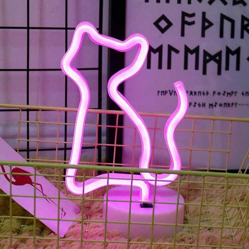Neon Led Işıklı Pembe Kedi Masa Lambası