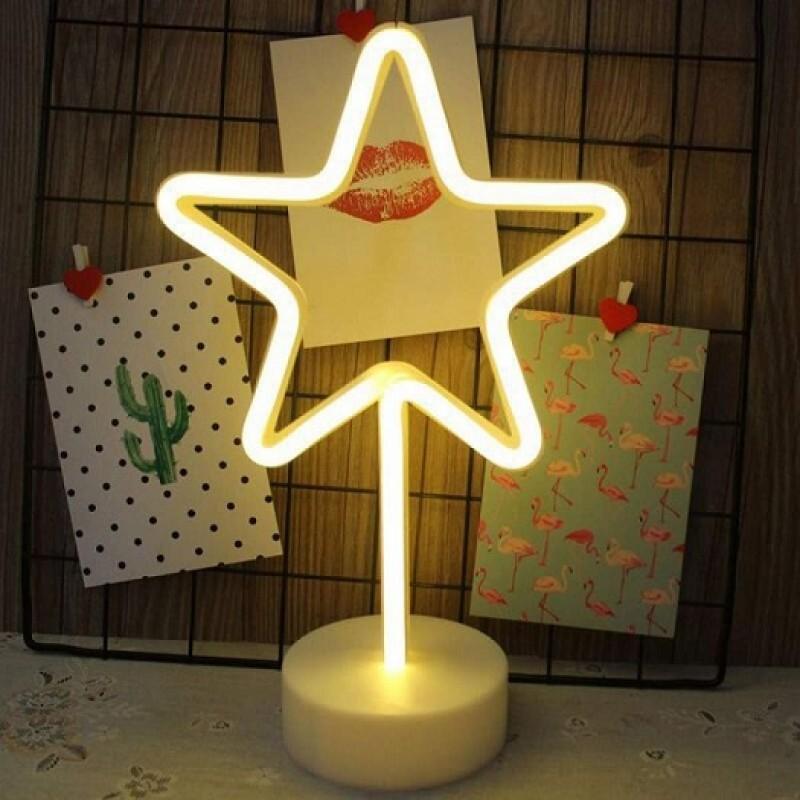 Yıldız Tasarımlı Neon Led Masa Ve Gece Lambası