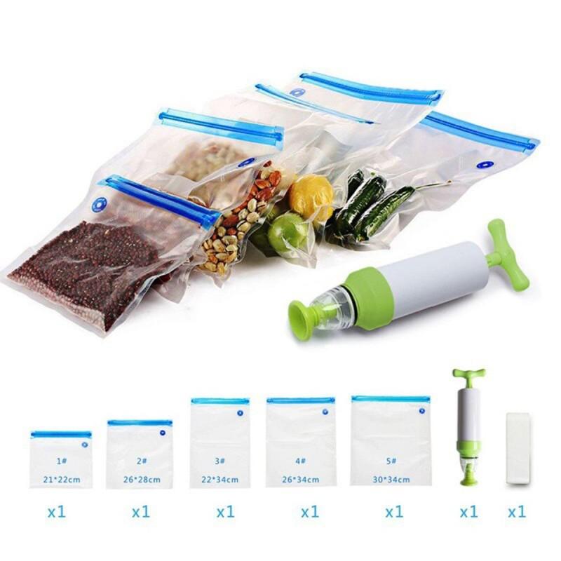 Buzdolabı için Vakum Torbaları ve Pompa İçeren 15'li Mutfak Organizatörü