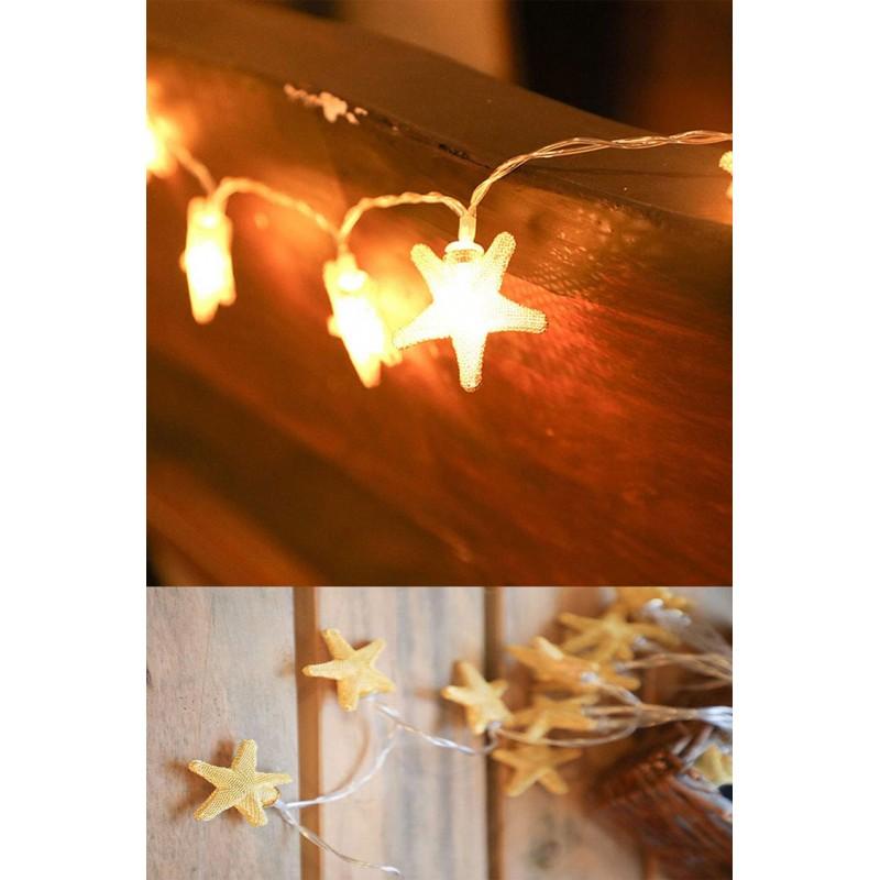 Rose Gold Yıldız 10 lu Metal Led Işık