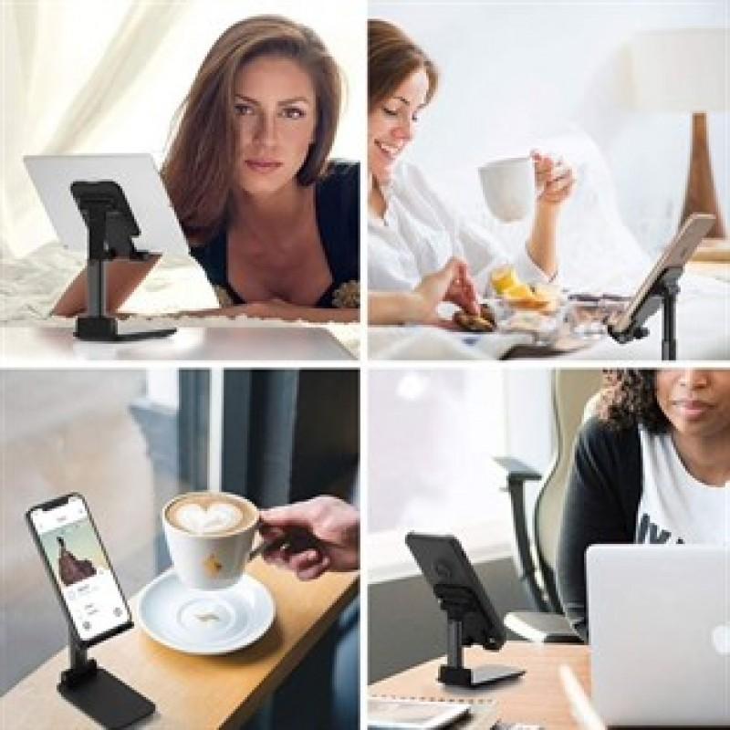 Siyah Aynalı Cep Telefonu Sabitleyici Katlanabilir Ayarlanabilir Telefon Standı