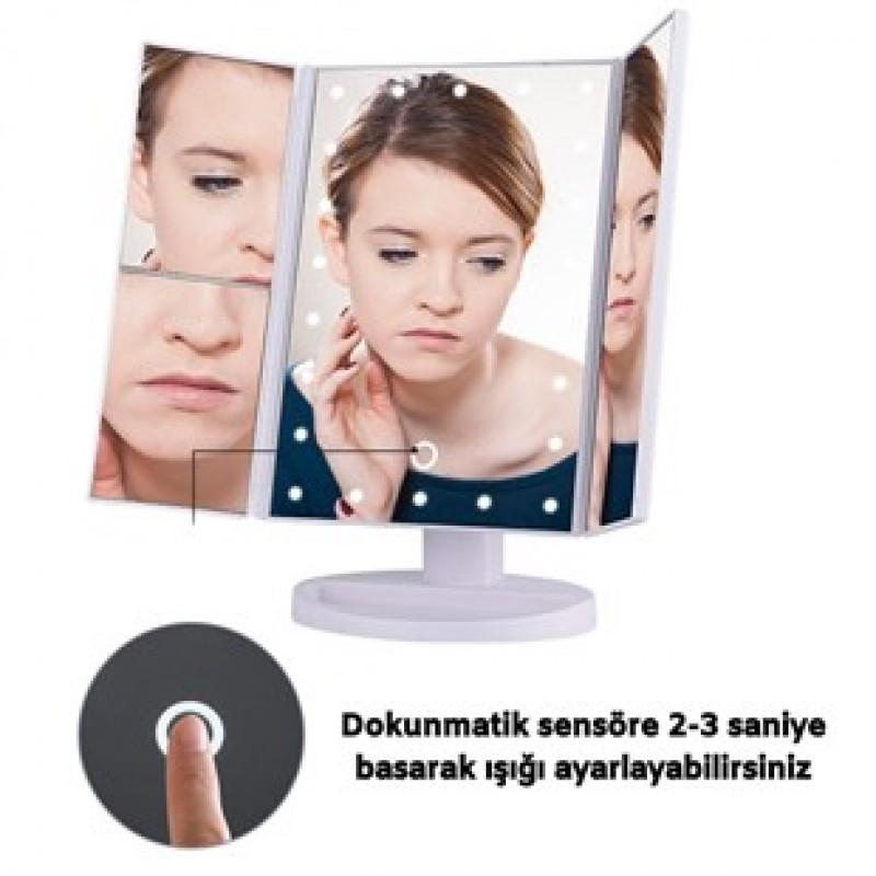 180 Derece Ayarlanabilir Led Dokunmatik Makyaj Aynası