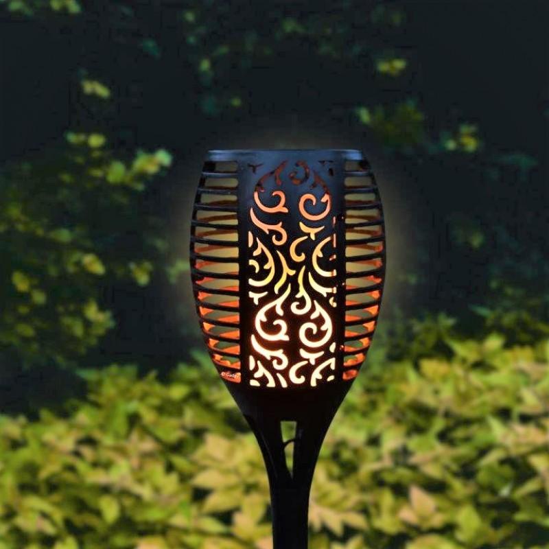 Güneş Enerjili Bahçe Lambası Alev Efektli (80cm 96 LED)