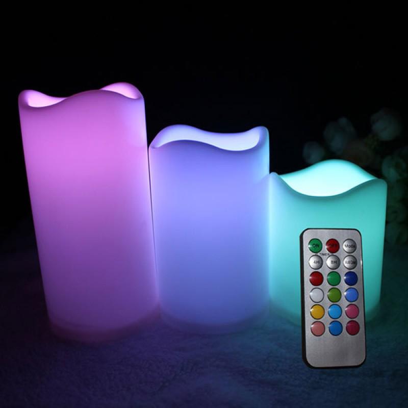 Uzaktan Kumandalı Elektronik LED Mum Seti (Mum Luma Candles - 3 Boy)