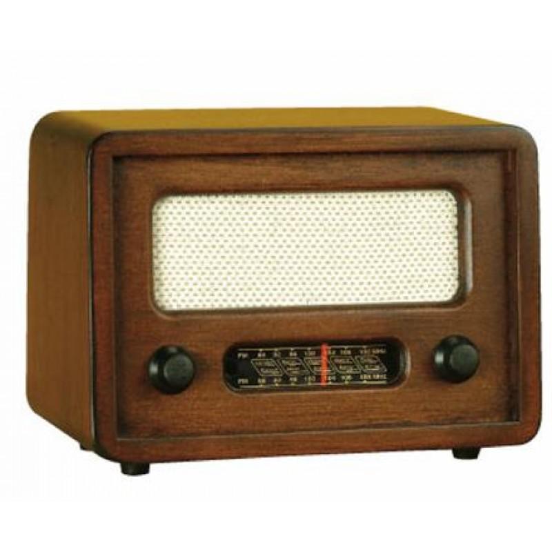 Nostaljik Görünümlü Ahşap Kahverengi Radyo